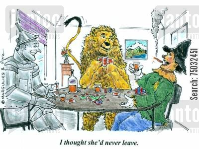 poker games cartoon humor: 'I thought she'd never leave.'