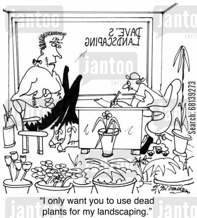 landscapers cartoon humor: 'I only want you to use dead plants for my landscaping.'