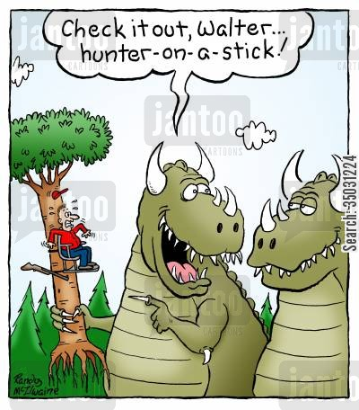 horror movie cartoon humor: 'Check it out, Walter... hunter-on-a-stick!'
