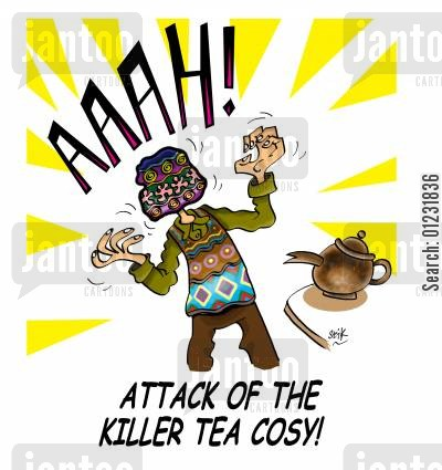 tea tray cartoon humor: Attack of the killer tea cosy!