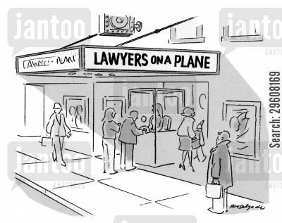now playing cartoon humor: Lawyers On A Plane.