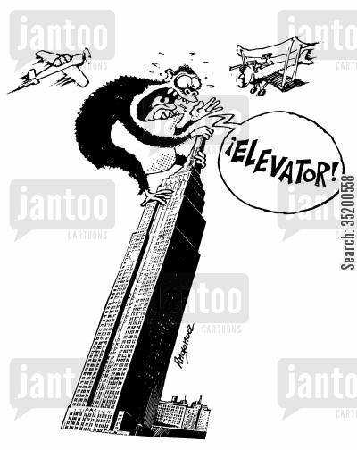 elevators cartoon humor: King Kong yelling for the 'Elevator!' on top of the Empire State Building