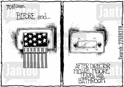 moore cartoon humor: Michael Moore's Toilet Paper.
