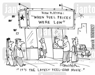 feel-good movie cartoon humor: 'It's the latest feel-good movie.' (cinema showing 'When Fuel Prices Were Low'.)
