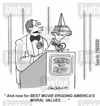 announcers cartoon humor: 'And now for BEST MOVIE ERODING AMERICA'S MORAL VALUES...'