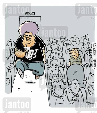 obscured views cartoon humor: Huge, tough guy going to sit in front of little man at movie theater.
