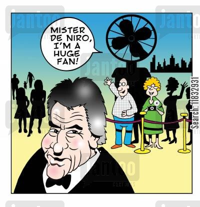 film star cartoon humor: Robert de Niro.