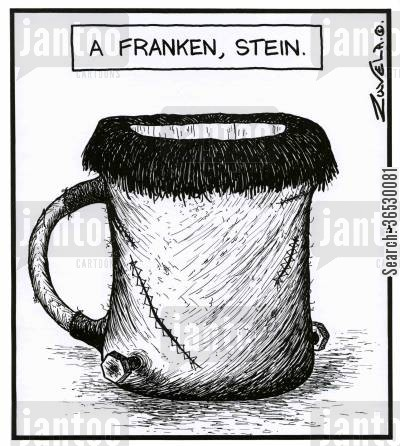 mary shelley cartoon humor: A Franken,stein.