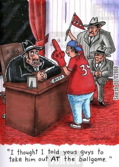 criminal organization cartoon humor: 'I thought I told you guys to take him out AT the ballgame.'