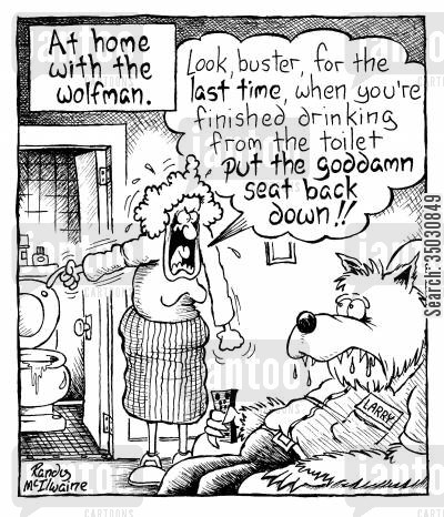 nagging wife cartoon humor: At home with the wolfman.