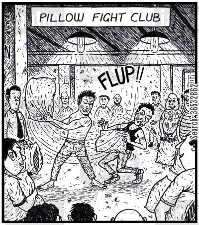 brawl cartoon humor: Pillow Fight Club men having fights with pillows in a secret underground club.