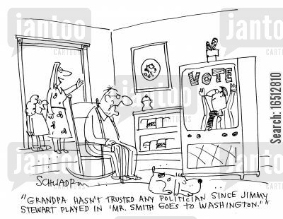 disbelieving cartoon humor: 'Grandpa hasn't trusted any politician since Jimmy Stewart played in 'Mr Smith Goes to Washington'.'