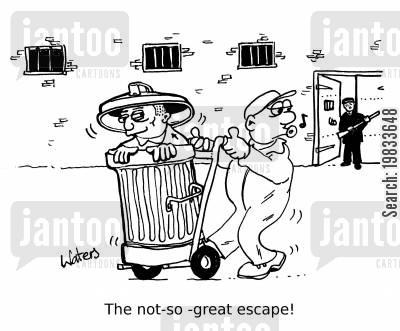 prison guard cartoon humor: The not-so great escape!