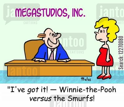 film makers cartoon humor: MEGASTUDIOS, INC., 'I've GOT it! -- Winnie-the-Pooh VERSUS the Smurfs!'