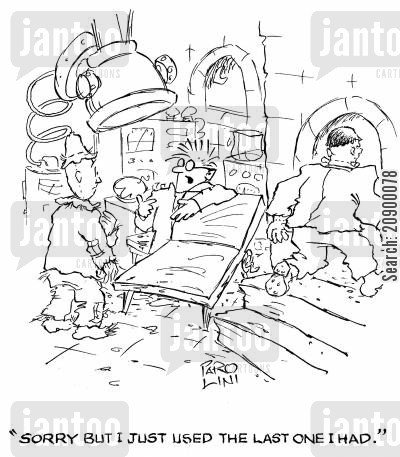organ transplants cartoon humor: 'Sorry but I just used the last one I had.'