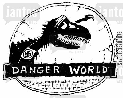 hitler cartoon humor: Jurassic HitlerDanger World