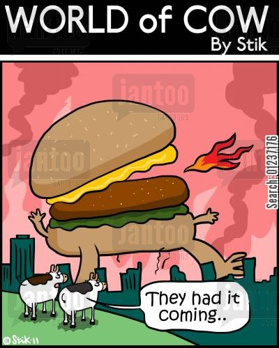 ham burger cartoon humor: 'They had it coming...'