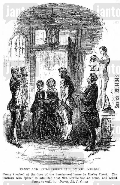entrance cartoon humor: Fanny and Little Dorrit call on Mrs. Merdle