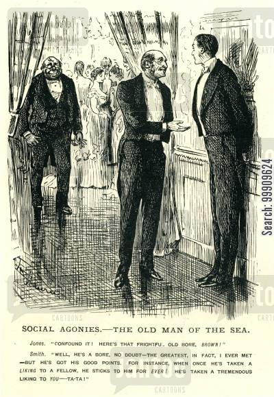 social events cartoon humor: Two Men Conversing At A Ball.