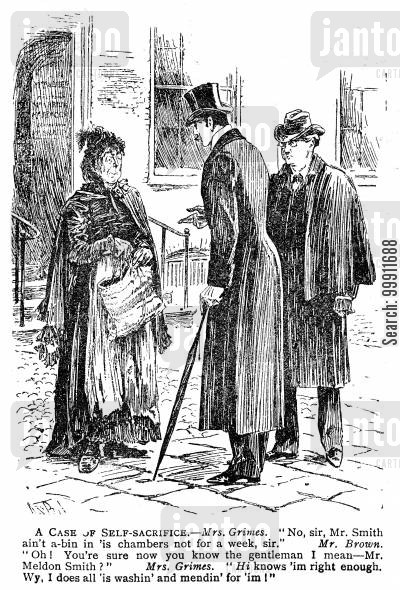 washerwoman cartoon humor: Men looking for a barrister