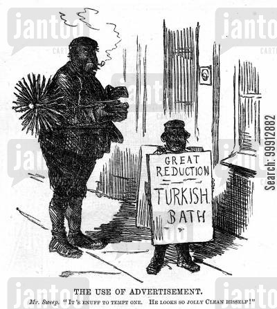 cleanliness cartoon humor: Chimney sweep sees an advertisement for a Turkish bath