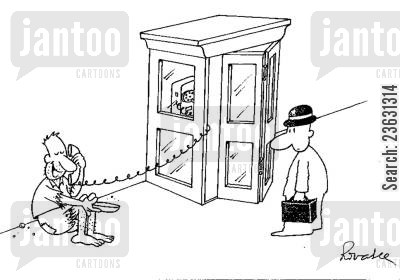 telephone booths cartoon humor: Begger using the telephone
