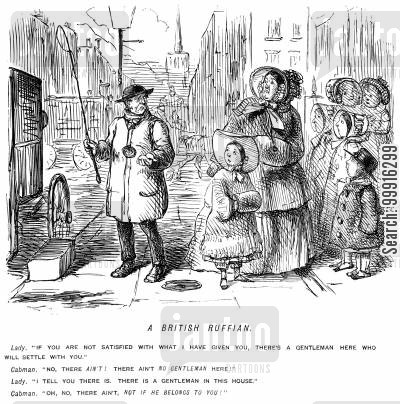 hansom cab cartoon humor: Cabman, unhappy with his fare, accuses a lady's husband of not being a gentleman