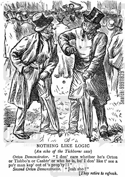 imposter cartoon humor: The Tichborne case - demonstrators for Arthur Orton