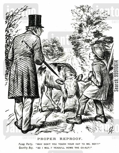 peasant cartoon humor: Snobbish man asking boy to take of his hat