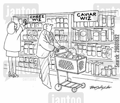 premium cartoon humor: Man buying 'Caviar Wiz'