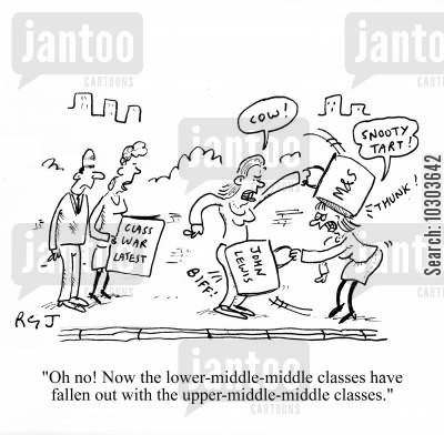 class conflict cartoon humor: 'Oh no! Now the lower-middle-middle classes have fallen out with the upper-middle-middle classes!'