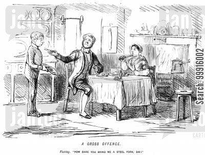 footmen cartoon humor: Servant is unsatisfied with a steel fork