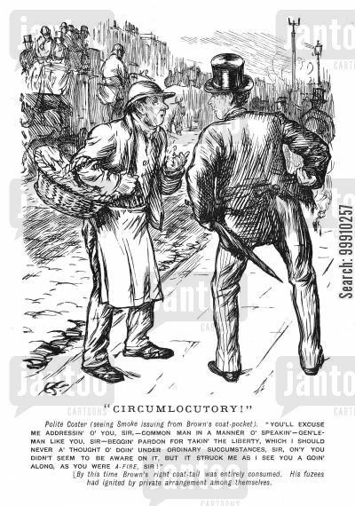 commoner cartoon humor: Costermonger addresses gentleman