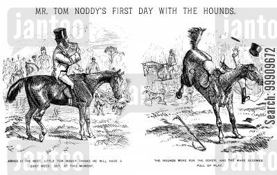 country cartoon humor: Mr Tom Noddy's First Day With the Hounds Pt. 1