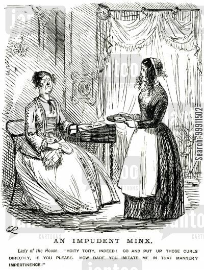 curly hair cartoon humor: Servant girl being told off for wearing her hair down in curls
