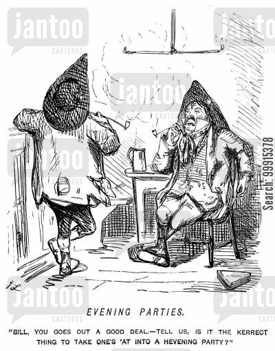 deportment cartoon humor: Scruffy looking man asking whether one should take one's hat into an evening party