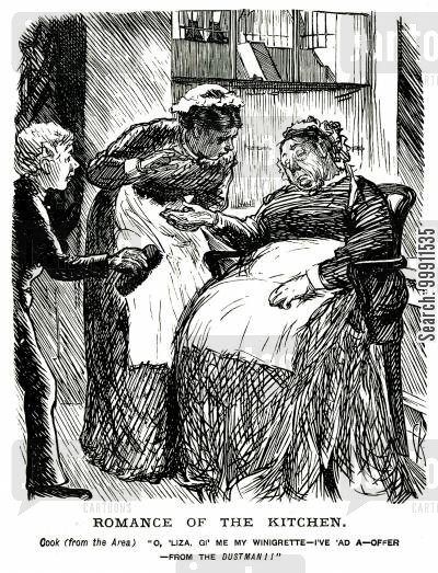 odour cartoon humor: Cook asking for her vinaigrette after recieving an offer from the dustman