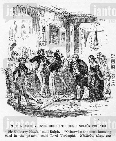 nicholas nickleby cartoon humor: Miss Nickleby introduced to her uncle's friends