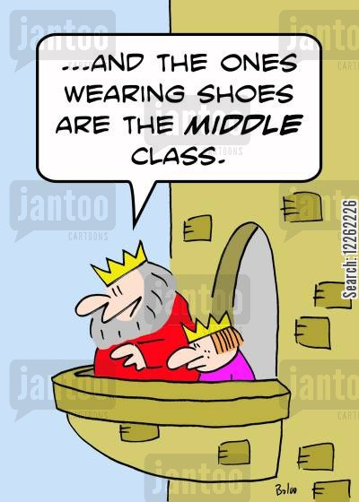 class structure cartoon humor: '...And the ones wearing shoes are the MIDDLE class.'