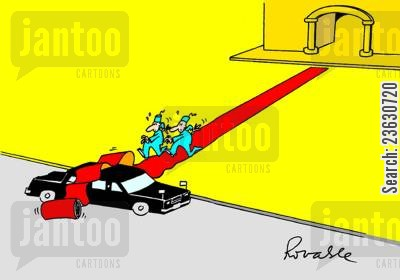 long cartoon humor: Red carpet rolling over a limousine.