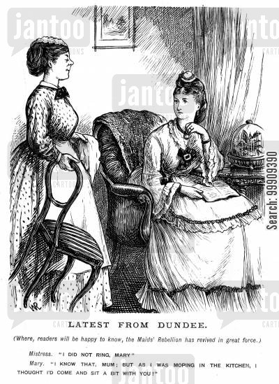 lower classes cartoon humor: A Maid and her Mistress.