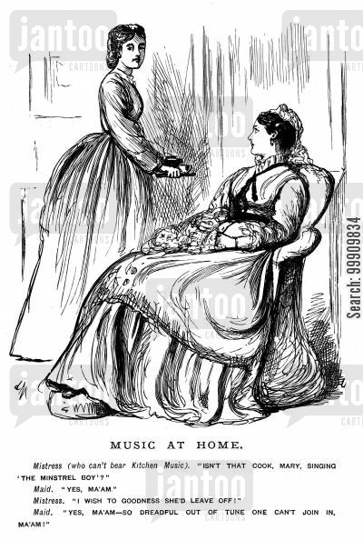 the minstrel boy cartoon humor: Mistress Talking to Maid