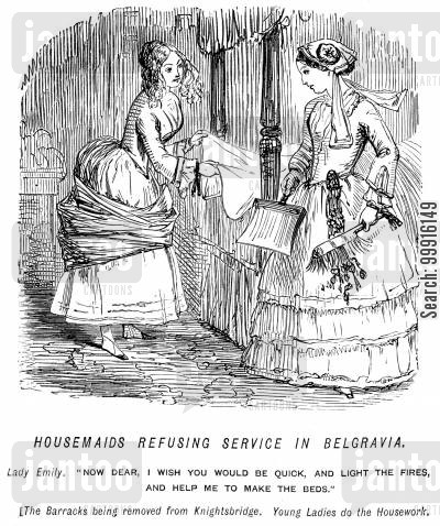 domesticity cartoon humor: Housemaids refusing service in Belgravia - Ladies doing housework