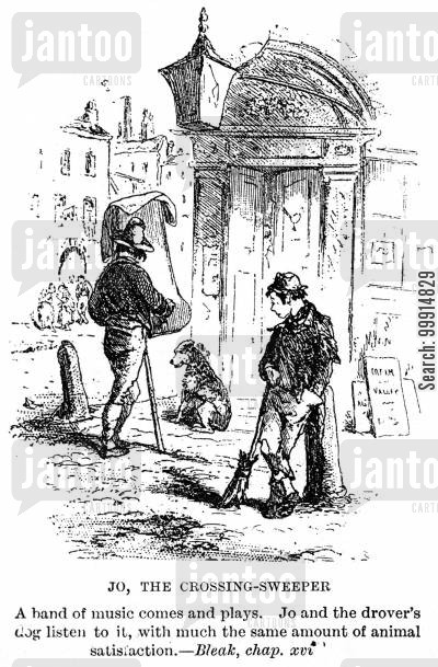 dickens cartoon humor: Jo,the crossing-sweeper