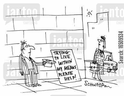 busk cartoon humor: Trying to live within my means, please help!