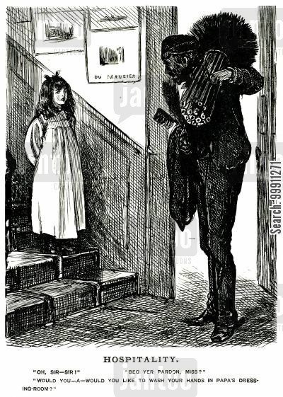 hospitality cartoon humor: girl offers dirty chimney sweep the use of her father's dressing room