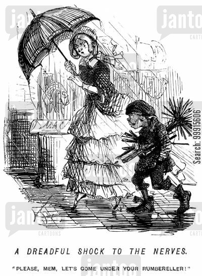 cheeky cartoon humor: Chimney sweep asking for shelter under a lady's umbrella