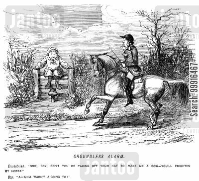 deference cartoon humor: Rider tells boy not to take of his hat and boy because it will frighten his horse. Boy replies that he wasn't going to.