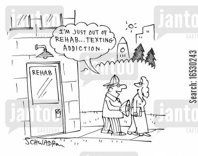 dog collar cartoon humor: 'I'm just out of rehab...texting addiction.'