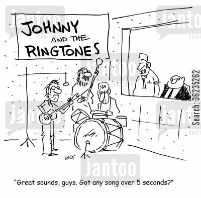 professional musician cartoon humor: Great sound, guys, got any song over 5 seconds?.
